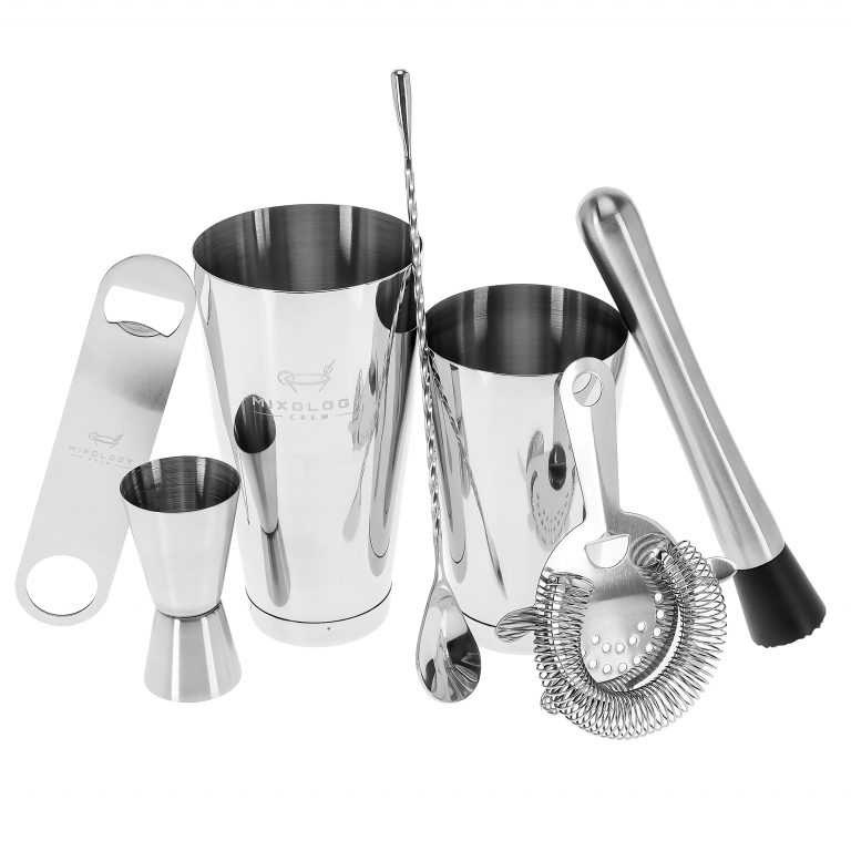 mixology tools including bottle opener and strainer