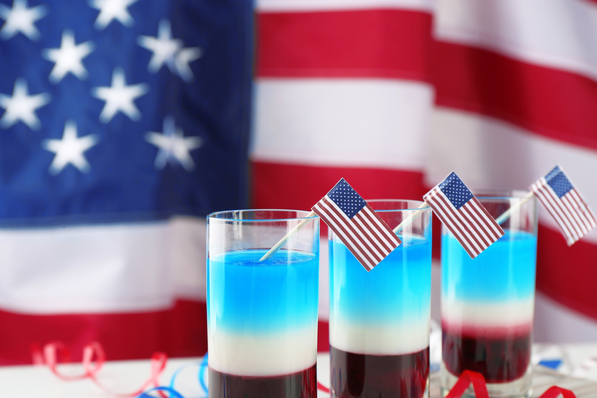 red white and blue cocktails with us flags