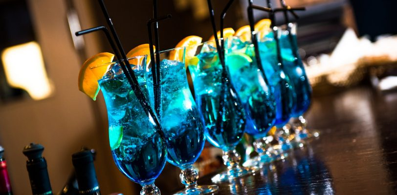 vodka-based cocktails blue lagoon on the bar