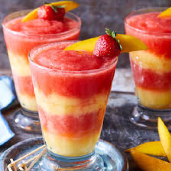 Layered Margarita cocktails in red and yellow