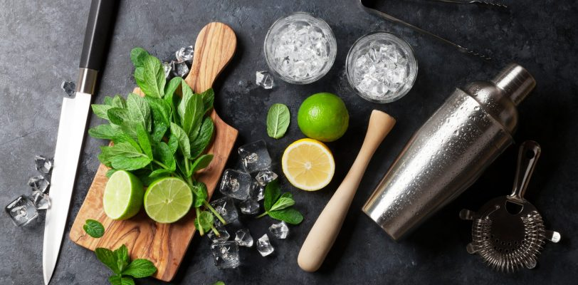 Mojito cocktail making showing the use of Mixology Supplies
